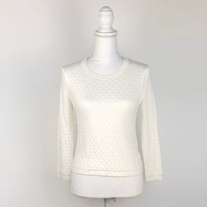 Iris LA Soft White Quilted Crop Sweater | Small